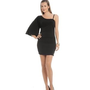 G By Guess Black One Sleeve Mini Dress